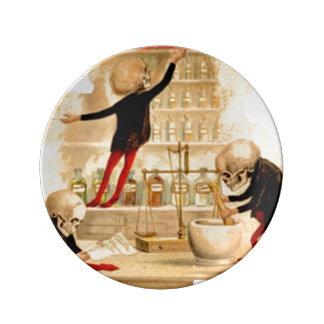 Skeletons Poison Drugs Pharmacist Halloween Magic Porcelain Plates