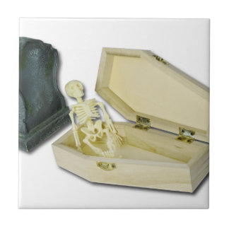 SkeletonSittingCoffinHeadstone070315 Small Square Tile