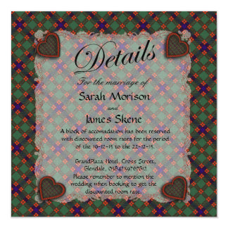 "Skene Scottish clan tartan - Plaid 5.25"" Square Invitation Card"