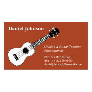 Sketch, casual, relax ukulele and guitar teacher business card template