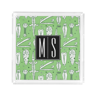 Sketch Crocodile Pattern | Monogram Acrylic Tray