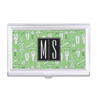Sketch Crocodile Pattern | Monogram Business Card Holder