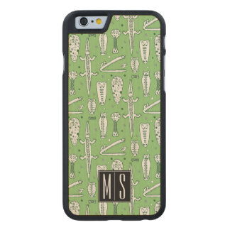 Sketch Crocodile Pattern | Monogram Carved Maple iPhone 6 Case