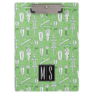 Sketch Crocodile Pattern | Monogram Clipboard
