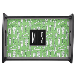 Sketch Crocodile Pattern | Monogram Serving Tray