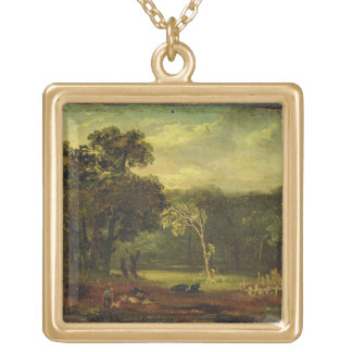 Sketch from Nature in Sion Park, 1819 (oil on card Gold Plated Necklace