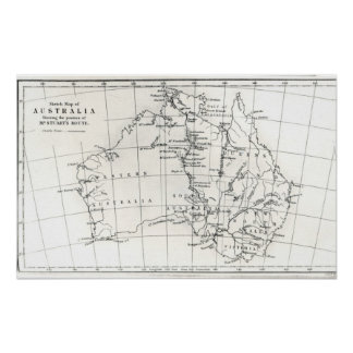 Sketch map of Australia Poster