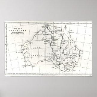 Sketch map of Australia Poster