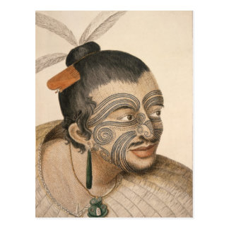 Sketch of a Maori Man, c. 1769 Postcard