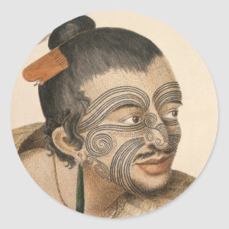 Sketch of a Maori Man, c. 1769 Round Sticker
