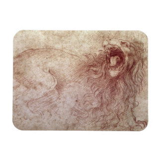 Sketch of a roaring lion (red chalk on paper) rectangular photo magnet