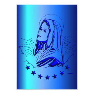 Sketch of Blessed Virgin Mary in Blue 13 Cm X 18 Cm Invitation Card