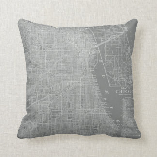 Sketch of Chicago City Map Cushion