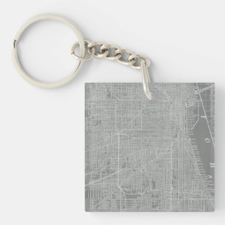 Sketch of Chicago City Map Key Ring