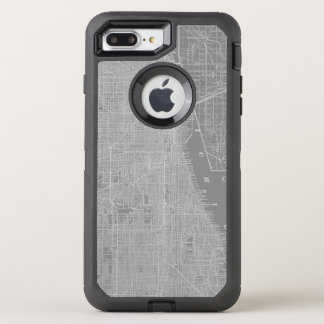 Sketch of Chicago City Map OtterBox Defender iPhone 7 Plus Case