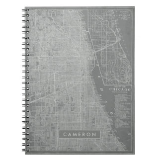 Sketch of Chicago City Map Spiral Notebook