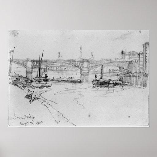 Sketch of London Bridge, 1860 Poster