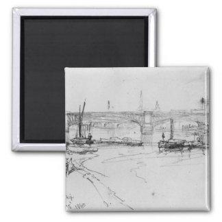 Sketch of London Bridge, 1860 Square Magnet