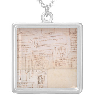 Sketch of Marble Blocks for Statues with Notes Silver Plated Necklace