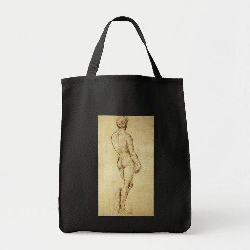 Sketch of Michelangelo's David Statue by Raphael Tote Bags