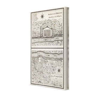 Sketch of new Orleans taken from fort St Charles Canvas Print
