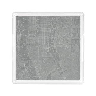 Sketch of New York City Map Acrylic Tray