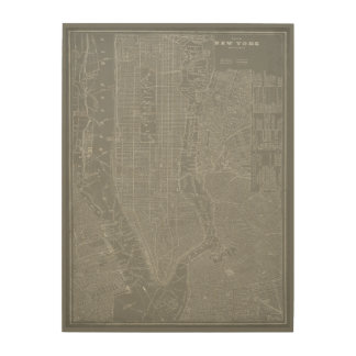 Sketch of New York City Map Wood Prints