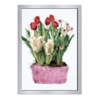 Sketch of Red Tulips & White Hyacinths in Basket 13 Cm X 18 Cm Invitation Card