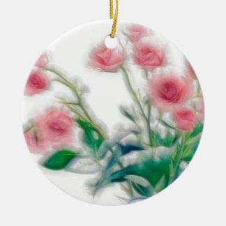 Sketch of Rose Bouquet Round Ceramic Decoration