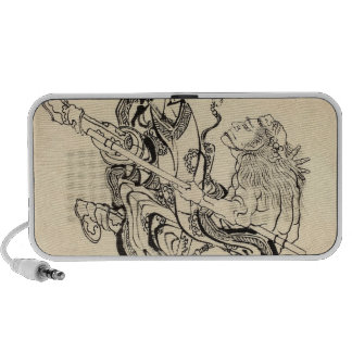Sketch of Samurai Warrior with lion mask Hokusai iPhone Speakers