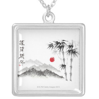 Sketch of Scenery Silver Plated Necklace