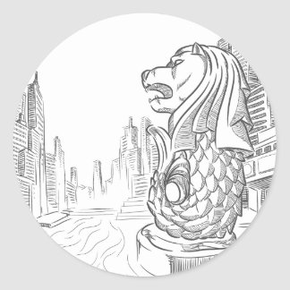 Sketch of Singapore Tourism Landmark - Merlion Classic Round Sticker