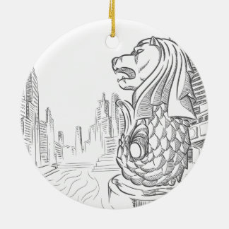 Sketch of Singapore Tourism Landmark - Merlion Round Ceramic Decoration