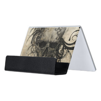 Sketch Of Tattoo Art, Handmade Illustration Desk Business Card Holder