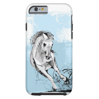 Sketch of white horse running tough iPhone 6 case