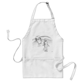 Sketch skull man flying bird horror drawing aprons