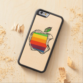 Sketch style Apple Logo Carved® Maple iPhone 6 Bumper Case