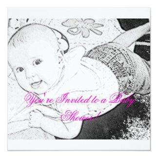 Sketched Baby Shower Invitation pink print