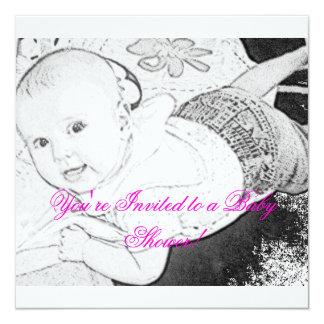 Sketched Baby Shower Invitation pink print