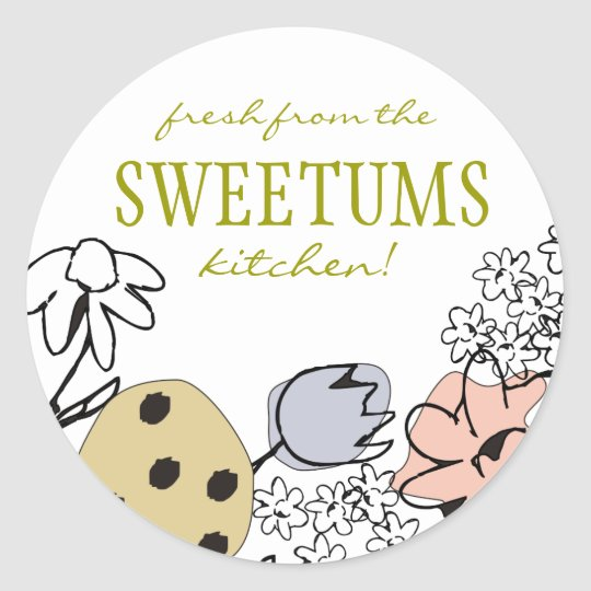 sketched bakery sweets flowers gift tag stickers