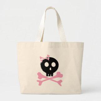 Sketched Candy Skull in Black Large Tote Bag