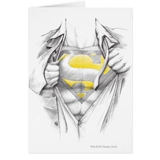 Sketched Chest Superman Logo Greeting Cards
