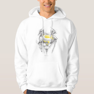Sketched Chest Superman Logo Hooded Pullovers