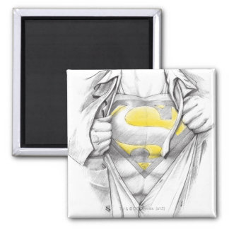 Sketched Chest Superman Logo Square Magnet