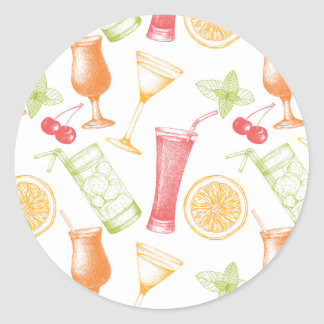 Sketched Cocktail Pattern Classic Round Sticker