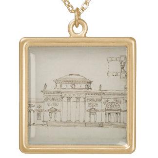 Sketched design for a domed building (pen & ink) necklaces