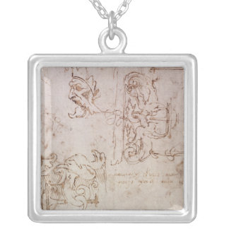 Sketched designs for furniture and decorations silver plated necklace
