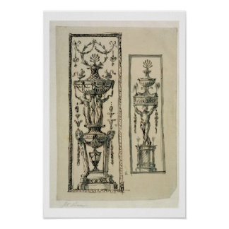 Sketched designs for ornate panels (pen & ink and poster