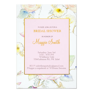 Sketched Floral Bridal Shower Invitation