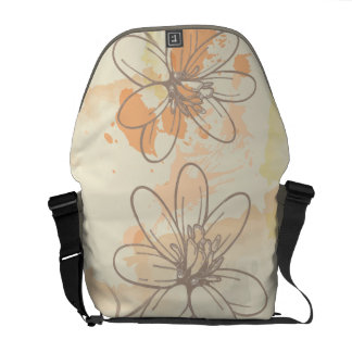 Sketched Floral on Watercolor Splats Courier Bags